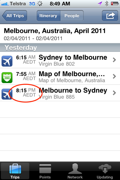TripIt iPhone app displaying the incorrect flight tim